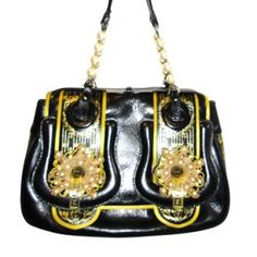 Check out this. Fendi Bag W Leather and Pearl Handle Black and Gold