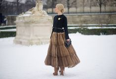 fur skirt worn to couture fashion week Fashion Week, Winter Fashion, Fashion Show, Fashion Design, Paris Fashion, Fashion Models, Style Fashion, Fur Skirt, Ulyana Sergeenko