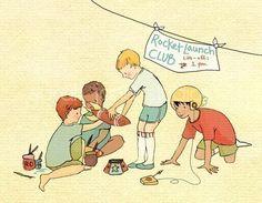 Children's Wall Art Print - Rocket Launch Club - 8x10 - Boy Kids Nursery Room Decor. $26.00, via Etsy.