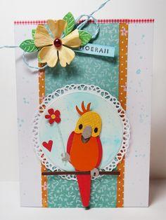Eline Pellinkhof: Parkieten en papegaaien, met WEGGEVER Paper Cards, Diy Cards, Handmade Cards, Marianne Design Cards, Animal Cards, Card Making Inspiration, Pretty Cards, Punch Art, Lovers Art