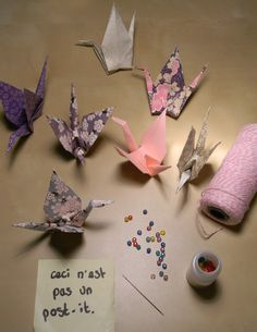 tutorial for origami cranes and link to tutorial how to make cranes...