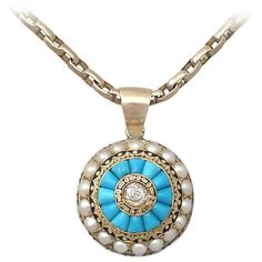Preowned Turquoise, Pearl, Enamel And 0.17ct Diamond, 15k Yellow Gold... (144.890 RUB) ❤ liked on Polyvore featuring jewelry, yellow, gold jewellery, gold chain pendant, gold diamond pendant, turquoise jewelry and pearl jewellery