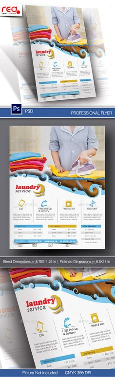 Laundry Service Flyer & Poster Template — Photoshop PSD #delivery #conceptual