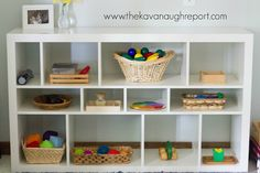 Mixed Age Montessori Play Shelves - how to incorporate Montessori work for multiple ages at home. Perfect for families with babies, toddlers, and older kids.