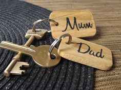Mum & Dad Keyring set 2  Handpainted oak wood by MakeMemento