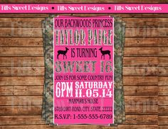 Sweet 16 Invite  Sweet 16 Birthday Party by TiffsSweetDesigns, $10.50