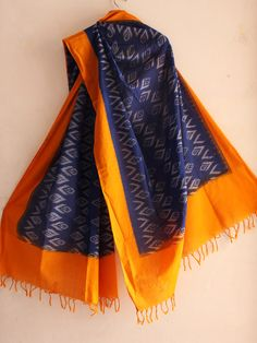 Yellow border Blue missing thread Ikkat Dupatta