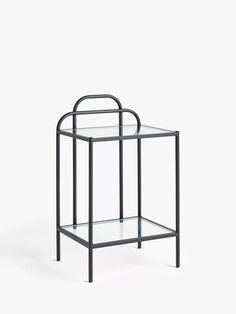 John Lewis & Partners Swirl Metal Bedside Table at John Lewis & Partners Tempered Glass Shelves, Cleaning Materials, Table Storage, Home Collections, Bedside, John Lewis, Retro Fashion, Metal, Clean Lines