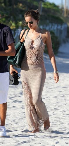 Russian model Irina Shayk in a crochet maxi dress