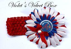 Atlanta Braves Bow Headband Baby Girls luxury by VioletsVelvetBox, $8.99