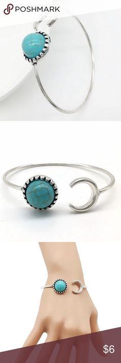 Gypsy Bracelet Beautiful Boho Gypsy Moon Bracelet  Material: Silver-tone Base Metal, Faux Turquoise  Nickel & Lead Free  NWT Jewelry Bracelets