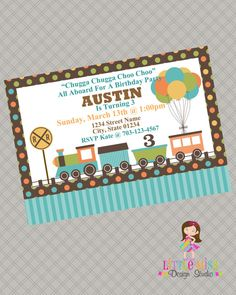 Train Birthday Invitation - Train - Printable. $11.00, via Etsy.