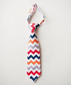 Another great find on #zulily! Navy & Red Zigzag Tie #zulilyfinds