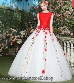 Ballkleid 2018 Brautkleid in Weiß Rot mit Blumen