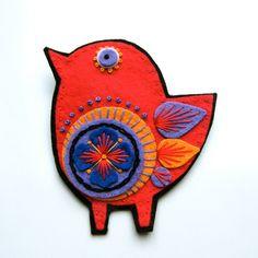 Felt Scandinavian bird embellishment by designedbyjane