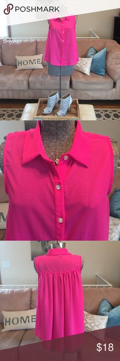 PINK SHEET BOTTON DOWN SLEEVELESS BLOUSE Like new! Sheer button down blouse,  size medium, perfect condition.  Worn once for a short amount of time! Thank you so much for visiting my closet if you have a moment please check out some of my reviews Tops Blouses