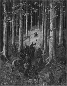 Gustave Doré's illustration to Orlando Furioso: a knight and his men see a knight and lady approach in the forest Gustave Dore, Beautiful Dark Art, Haunted Forest, Knight In Shining Armor, Arte Horror, All Nature, Art Database, Wood Engraving, French Artists