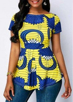 Boat Neck Printed Short Sleeve Blouse Source by The post Boat Neck Printed Short Sleeve Blouse – African Fashion Dresses appeared first on 2019 Trends. African Fashion Ankara, African Fashion Designers, Latest African Fashion Dresses, African Dresses For Women, African Print Dresses, African Print Fashion, Africa Fashion, African Attire, African Women