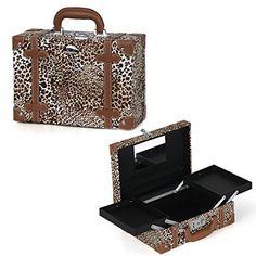 4369260a28c Sunrise Professional Leopard Pattern Beauty Makeup Train Case with Mirror  Makeup Train Case, Makeup Case