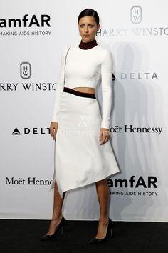Adriana Lima Feminine High Neck Long Sleeve White Tea Length Prom Dress AmfAR 2016
