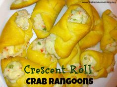 Crecent Roll Crab Rangoons Recipe - These are DELICIOUS and so EASY to make. (rush is crying for Rangoon! Lol trying to avoid getting dressed and going out for Chinese)