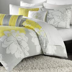 Madison Park 'Brianna' Contemporary 6-piece Duvet Cover Set King $85 - more yellow and gray