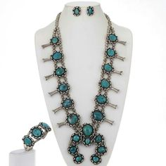 Squash Blossom Necklace Set Bracelet Earrings 1950's