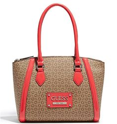 Guess Logo Proposal Satchel Tote Bag Handbag Purse (Coral   Brown 9b838689d7501