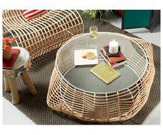 Mesa de centro de madera maciza de caña, acero y cristal Tebelt | Westwing Home & Living