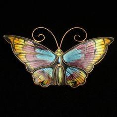 Butterfly Pin Vintage Sterling Silver Enamel David Andersen Norway