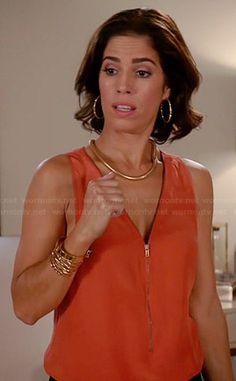 Marisol's orange zip front tank on Devious Maids. Outfit Details: http://wornontv.net/33938/ #DeviousMaids