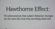 Hawthorne Effect: The phenomenon that subject behavior changes by the mere fact they are being observed.