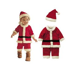 e941ee044d2d6 Newborn Baby Boys Girls Santa Claus Long Sleeve Rompers And Hat ...