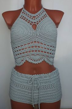 Crochet Top & Shorts Beachwear Festival Top Summer Trend