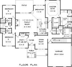 Craftsman Traditional House Plan 58279 Level One