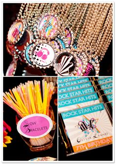 Rock Star Birthday Party | puddle jumpers photogglow sticks and necklaces