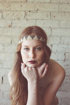 Glass beaded pyramid design headband style 603 by mignonnehandmade How To Wear Headbands, Hippie Headbands, Maroon Lipstick, Headband Styles, Dark Lips, Wild Style, Hair Beads, Bridal Crown, How To Draw Hair