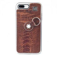 Carcasa iPhone 8 Plus con sistema de sujeción Finger 360 #funda #avestruz #anticaidas #anillo #Finger360 #marron #piel #8plus #iphone8