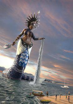African Mythology, African Goddess, Black Love Art, Black Girl Art, Black Mermaid, Mermaid Art, African American Art, African Art, Yemaya Orisha