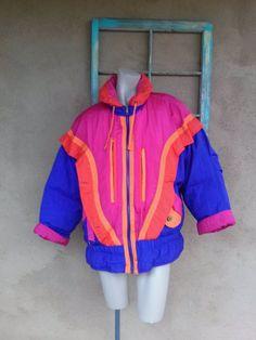 Vintage 1980s Jacket Puffy Down Parka Ski Coat Neon 80s Winter Coat Mens Womens Unisex 2015467 - pinned by pin4etsy.com