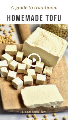 A super simple DIY for how to make tofu at home. There are two methods you can choose from and there is a simple process to make the tofu from soft to firm. Firm Tofu Recipes, Veggie Recipes, Vegetarian Recipes, Cooking Recipes, Healthy Recipes, Veggie Food, Cooking Tips, Vegan Foods, Vegan Dishes