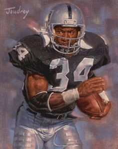 Bo Jackson, Oakland Raiders by Ken Joudrey, Nfl Oakland Raiders, Raiders Football, Football Art, School Football, Vintage Football, Football Helmets, Bo Jackson, Sport Icon, Raider Nation