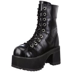 The Ranger-301 is a 9 eye lace-up black PU??platform boot with a 3 1/2 inch platform heel. The boot comes with a stitched design and an inner zipper for easy on and off. - Black PU - 3 1/2 inch platfo