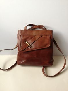 Vintage 90's French Brown Leather Rucksack/ Leather by Tukvintage