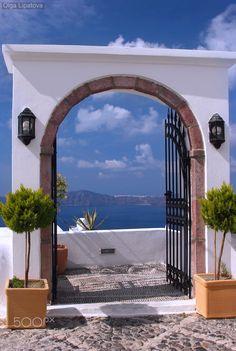 Gate with a view, Fira, Santorini, Greece