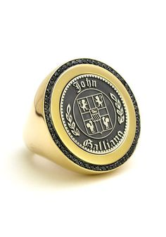 18kyg & Black Diamond Signet Ring