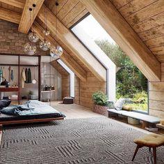 59 Ideas For House Plans Open Floor Loft Interior Design Bedroom Windows, Wood Bedroom, Bedroom Loft, Bedroom Ideas, Bedroom Decor, Master Bedrooms, Master Suite, Master Closet, Skylight Bedroom