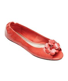 Another great find on #zulily! Coral Patent Kate Peep-Toe Flat by Lindsay Phillips #zulilyfinds