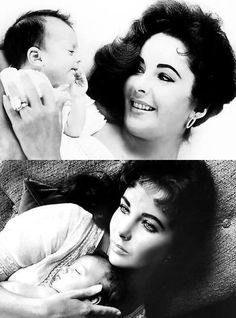 Elizabeth Taylor with her newborn daughter Liza, photographed by Toni Frissell, 1957.