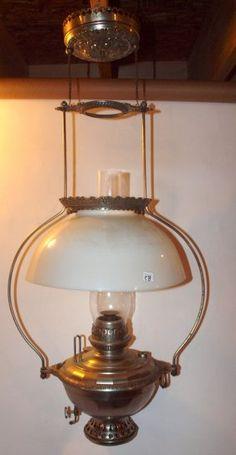 Bradley & Hubbard Nickle Hanging Lamp With Milk Glass